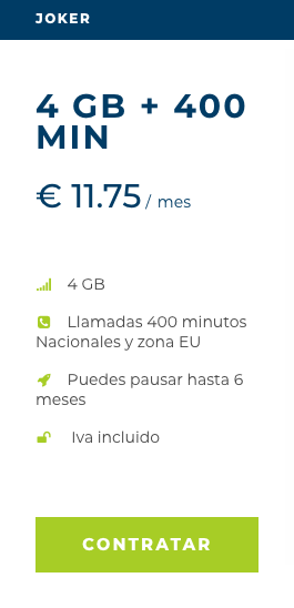 Tarifa Joker for best phone calls to Europe 4 Gb 11,75€