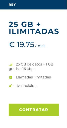 Tarifa móvil Rey de Mangatel 25 Gb más 1 Gb gratis a 16 kbps y llamadas ilimitadas