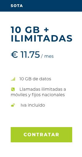 Tarifa Sota de Mangatel 10 GB más llamadas ilimitadas por 11,75 €